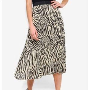 Daria Pleated Midi Skirt Zebra Black Tan Sarah Sm